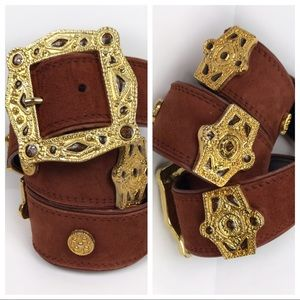 Escada Brown Leather Western Gold Detail Belt 36
